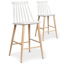 "Lot de 2 Chaises de Bar ""Beaune"" 97cm Blanc"