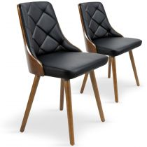 "Lot de 2 Chaises Scandinave ""Cargo"" 79cm Noisette & Noir"