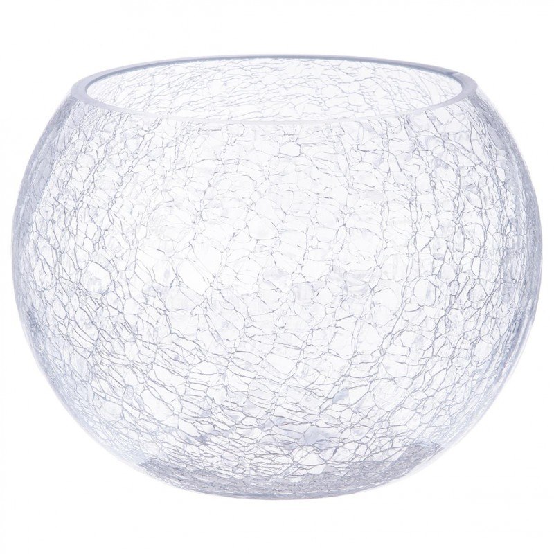 vase boule en verre craquel 20cm transparent. Black Bedroom Furniture Sets. Home Design Ideas