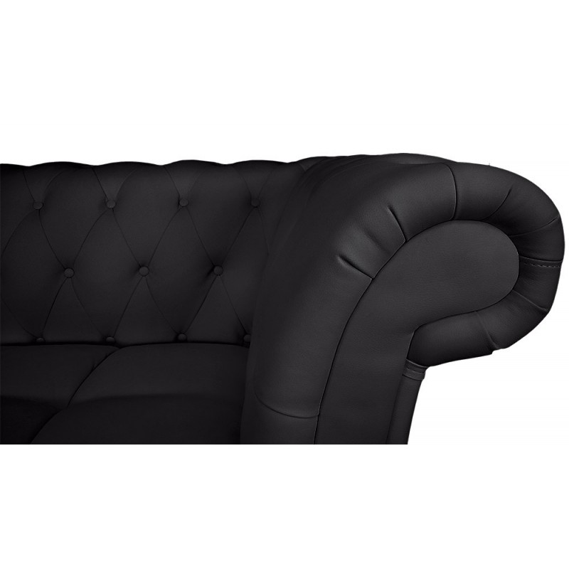 canap chesterfield brighton 240cm noir angle gauche. Black Bedroom Furniture Sets. Home Design Ideas