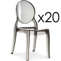 "Lot de 20 Chaises Design ""Beauty"" 89cm Transparent Fumé"