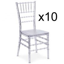 "Lot de 10 Chaises Design ""Jonny"" 90cm Transparent"