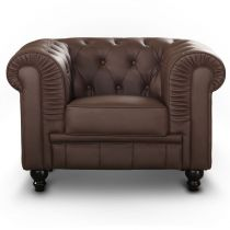 "Fauteuil Design ""Chesterfield"" 110cm Marron"