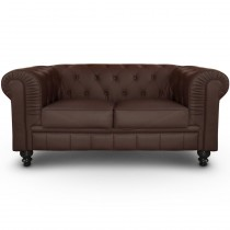 "Canapé 2 Places ""Chesterfield"" 157cm Marron"