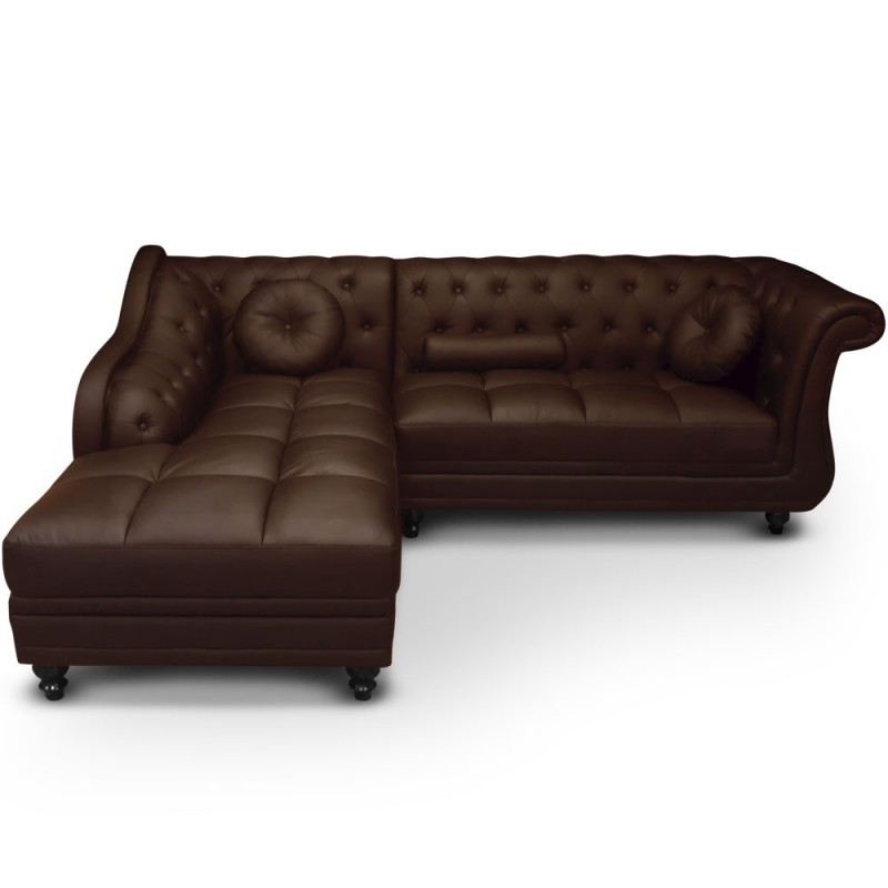 canap chesterfield brighton 240cm marron angle gauche. Black Bedroom Furniture Sets. Home Design Ideas