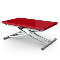 "Table Basse Relevable ""Higher"" 57-114cm Rouge Laqué"