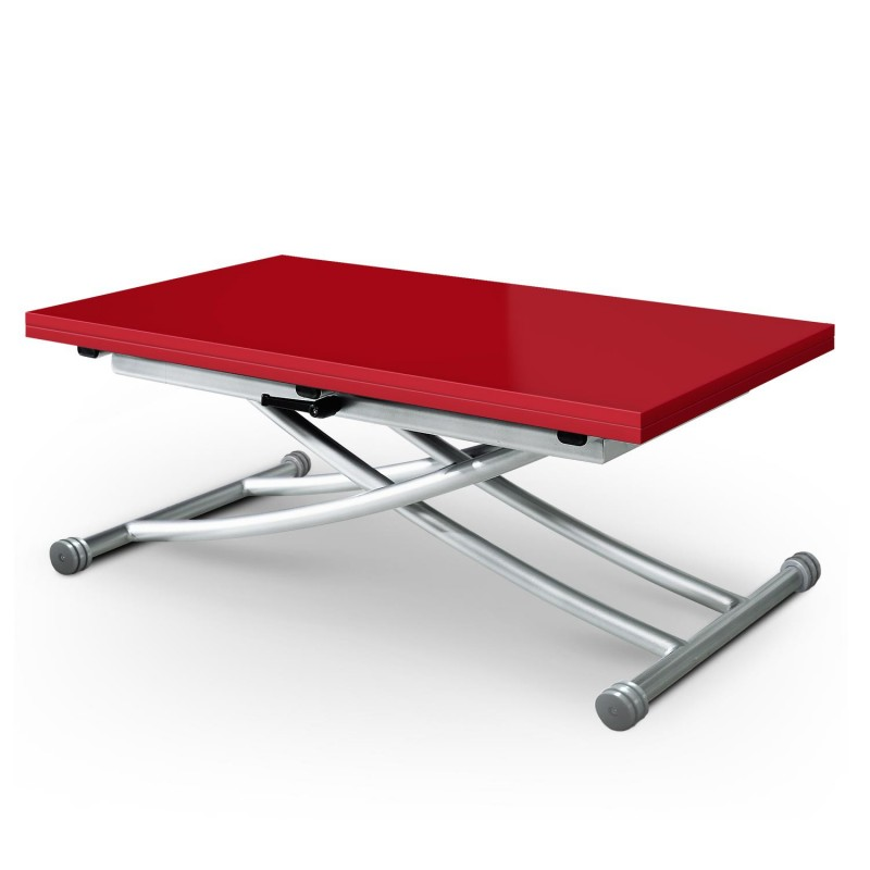 Table basse relevable higher 57 114cm rouge laqu for Table de cuisine rouge laque
