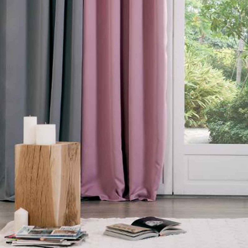 Rideau occultant 140x260cm rose for Rideau occultant rose pale