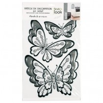"Stickers Effet Strass ""Papillons"" 30x40cm Argent"