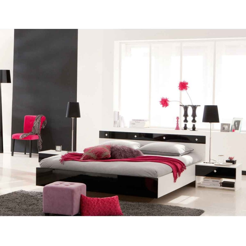 lit adulte diamaan 140x190cm noir blanc. Black Bedroom Furniture Sets. Home Design Ideas