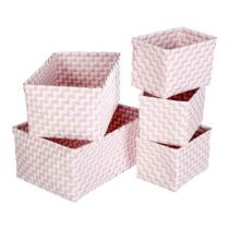 "Set de 5 Paniers de Rangement ""Color"" Rose"