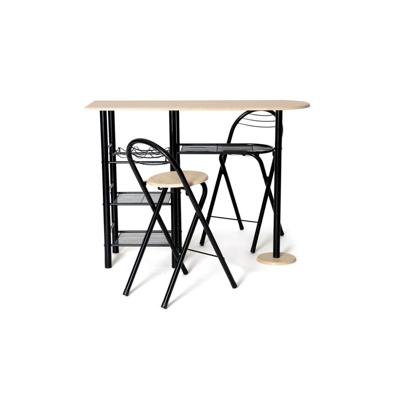 ensemble table 2 tabourets de bar gatran ch ne noir. Black Bedroom Furniture Sets. Home Design Ideas