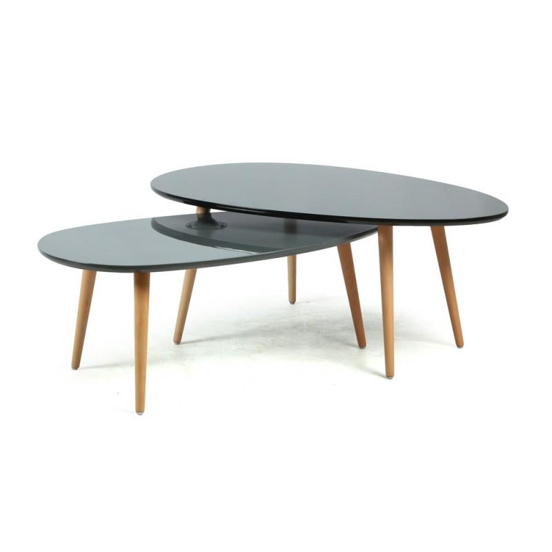 Set de 2 tables basses gigognes glowy noir gris brillant for 2 tables basses gigognes