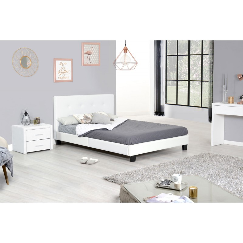 lit adulte apollio 140x190cm blanc. Black Bedroom Furniture Sets. Home Design Ideas