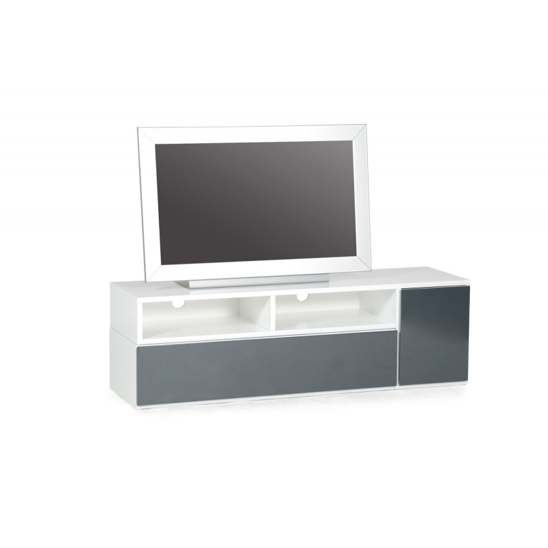 Meuble tv design bunt 39 130cm blanc gris anthracite for Meuble tv blanc gris