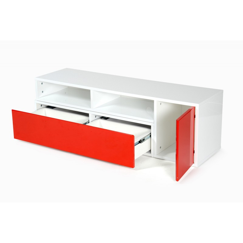 Meuble tv design bunt 39 130cm blanc rouge for Meuble tv rouge