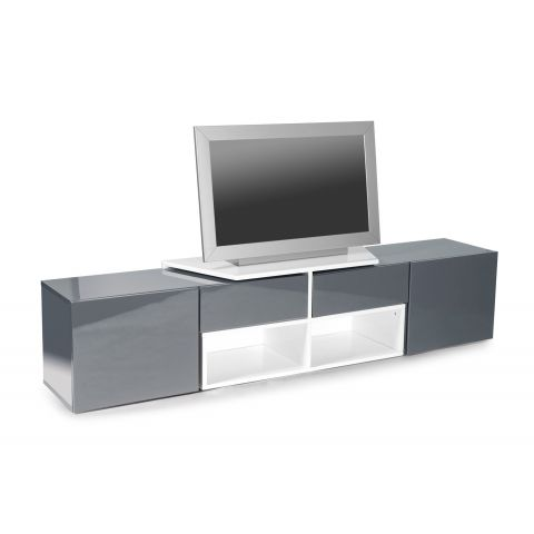 meuble tv design bunt 205cm blanc gris anthracite. Black Bedroom Furniture Sets. Home Design Ideas