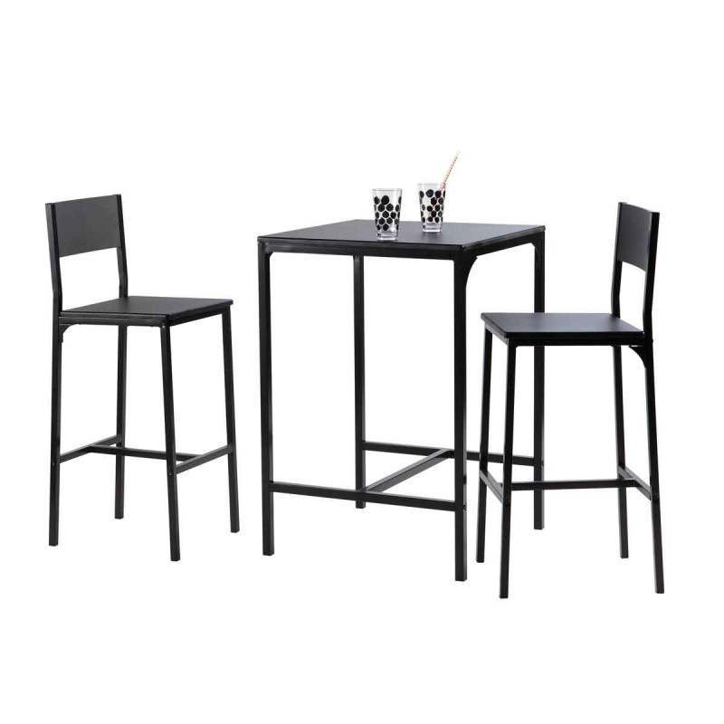ensemble table 2 tabourets de bar keep noir. Black Bedroom Furniture Sets. Home Design Ideas