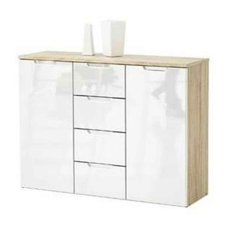 bahut 2 portes 4 tiroirs cl a 106cm ch ne blanc brillant. Black Bedroom Furniture Sets. Home Design Ideas