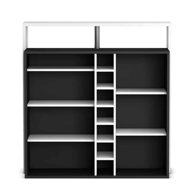 meuble de bar rangement musico 112cm blanc noir. Black Bedroom Furniture Sets. Home Design Ideas