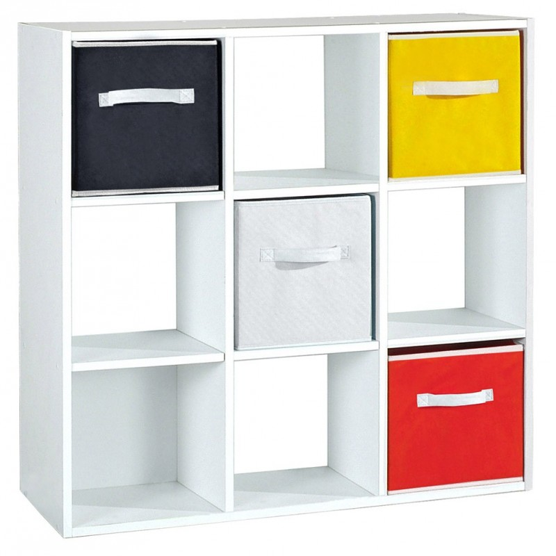 meuble de rangement 9 cases malt 92cm blanc. Black Bedroom Furniture Sets. Home Design Ideas