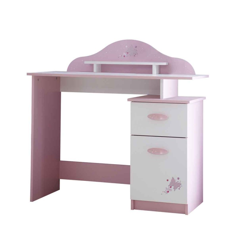 Bureau enfant butterfly 100cm rose blanc for Bureau 100 cm