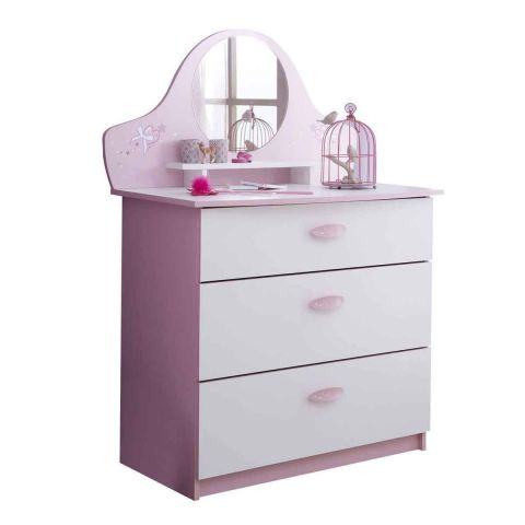 """Commode 3 Tiroirs """"Butterfly"""" 97cm Rose & Blanc"""