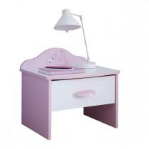 "Table de Chevet Enfant ""Butterfly"" 45cm Rose & Blanc"