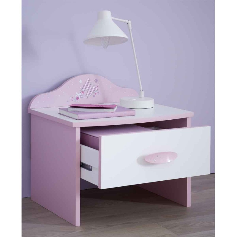 table de chevet enfant butterfly 45cm rose blanc. Black Bedroom Furniture Sets. Home Design Ideas