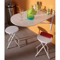 "Ensemble Table de Repas Murale & 2 Tabourets ""Prisca"" Blanc"