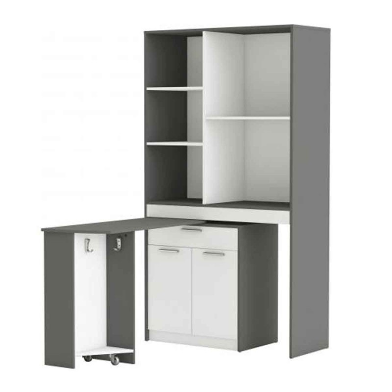 buffet desserte de cuisine lordaz 182cm blanc gris. Black Bedroom Furniture Sets. Home Design Ideas