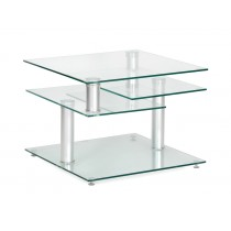 "Table Basse en Verre ""Scurl"" 60-115cm Transparent"