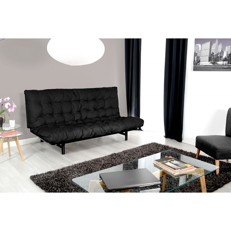 matelas futon pour clic clac tams 135x190cm noir. Black Bedroom Furniture Sets. Home Design Ideas