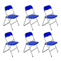 "Lot de 6 Chaises Pliables ""Actor"" 80cm Bleu Marine"
