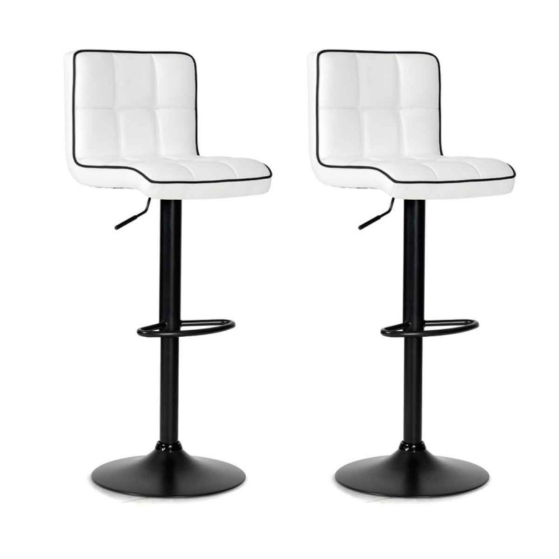 lot de 2 tabourets de bar parfait 90 111cm blanc noir. Black Bedroom Furniture Sets. Home Design Ideas