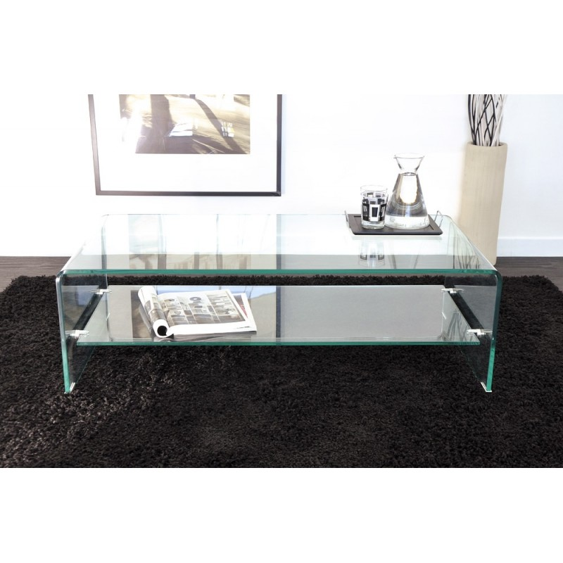 table basse en verre maxus 110cm transparent. Black Bedroom Furniture Sets. Home Design Ideas