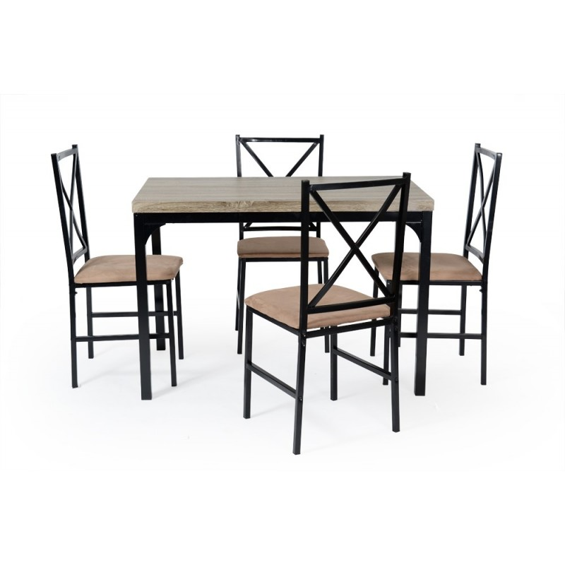 ensemble table de repas 4 chaises juano noir camel. Black Bedroom Furniture Sets. Home Design Ideas