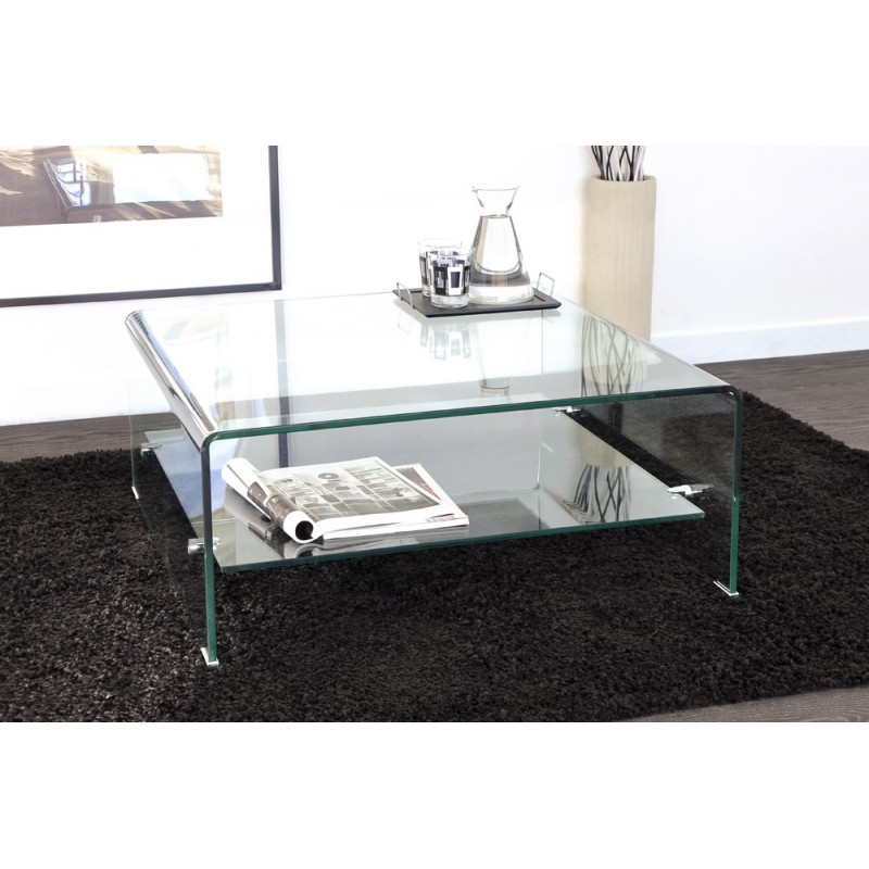 table basse en verre maxus 80cm transparent. Black Bedroom Furniture Sets. Home Design Ideas