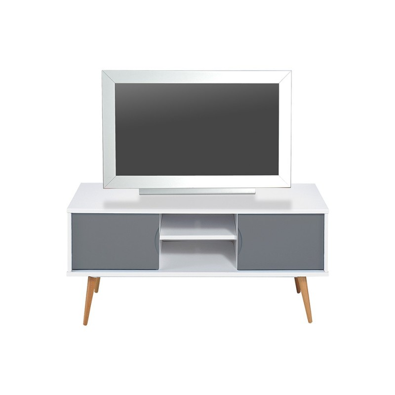 Meuble tv design copan 120cm gris blanc for Meuble tv gris blanc
