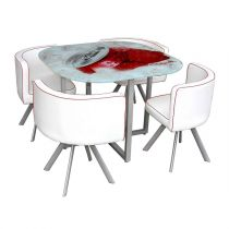 "Ensemble Table & 4 Chaises Design ""Hush"" Blanc & Rouge"