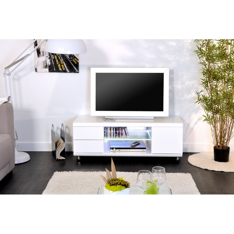 meuble tv design adan 120cm blanc brillant. Black Bedroom Furniture Sets. Home Design Ideas