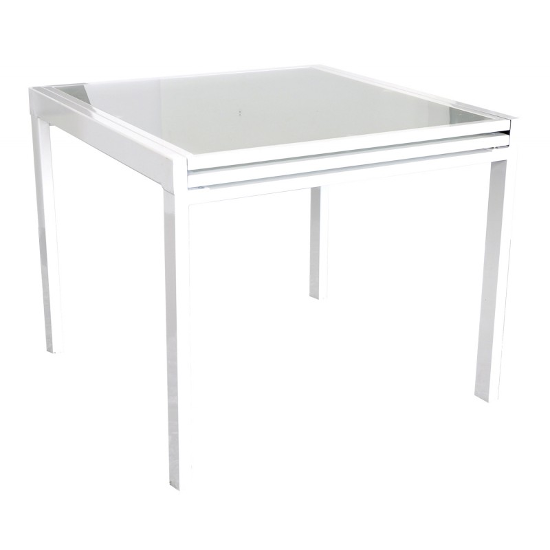 Table de repas extensible aileen 90 180cm blanc for Table 90 extensible