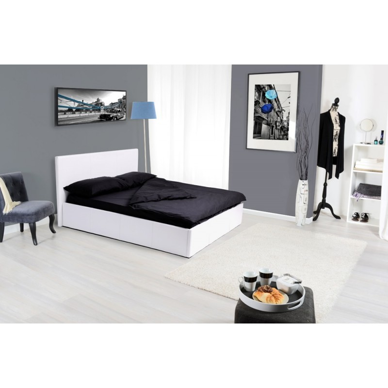 lit coffre adulte kansas 140x190cm blanc. Black Bedroom Furniture Sets. Home Design Ideas