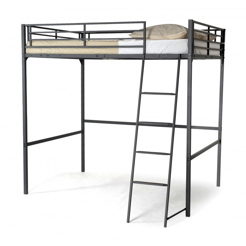 lit mezzanine karos 140x190cm gris anthracite. Black Bedroom Furniture Sets. Home Design Ideas