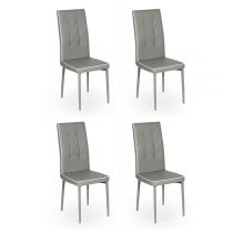 "Lot de 4 Chaises Design ""Shera"" 104cm Gris & Blanc"