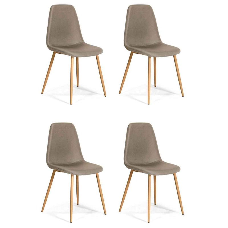 Lot de 4 chaises design beuil 86cm taupe for Lot 4 chaises taupe
