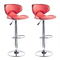 "Lot de 2 Tabourets de Bar ""Béa"" 85cm Rouge"