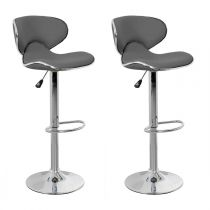 "Lot de 2 Tabourets de Bar ""Béa"" 85cm Gris Anthracite"
