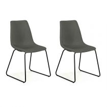 "Lot de 2 Chaises Design ""Bounce"" 85cm Gris Anthracite"