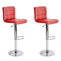 "Lot de 2 Tabourets de Bar ""Linno"" 91-112cm Rouge"